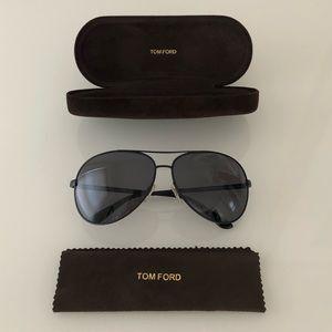 Tom Ford TF35 Charles Aviator Sunglasses Black